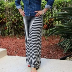 Design History Striped Viscose Maxi Skirt L